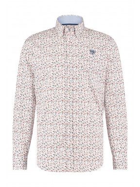 Regular-fit-overhemd-met-print---koraal/kobalt