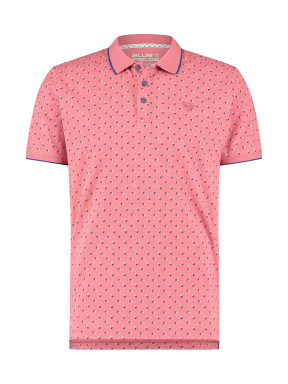 Poloshirt-with-an-all-over-print---coral/cobalt