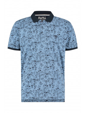 Poloshirt-with-a-floral-print---grey-blue/midnight