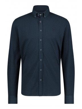 Overhemd-met-print-en-logo-op-de-borst---donkerblauw/donkergroen