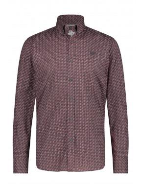 Shirt-Print---charcoal/wine-red