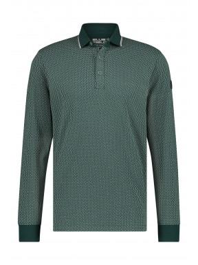 Poloshirt-Jersey-Long-Sleeve-Print---dark-green/silver-grey