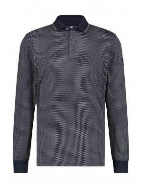 Poloshirt-Jersey-Long-Sleeve-Print---dark-blue/silvergrey