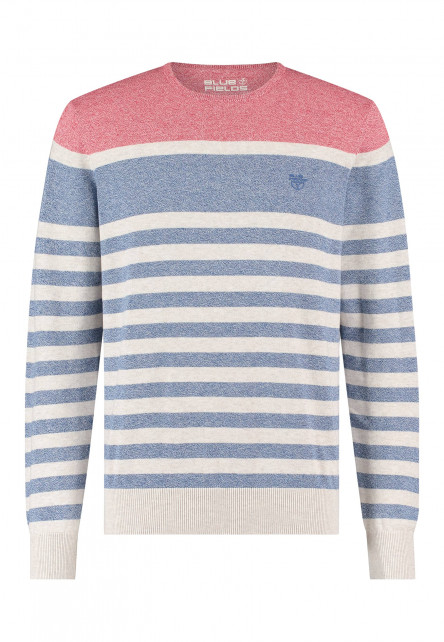 Pullover-of-recycled-polyester---sand/wine-red