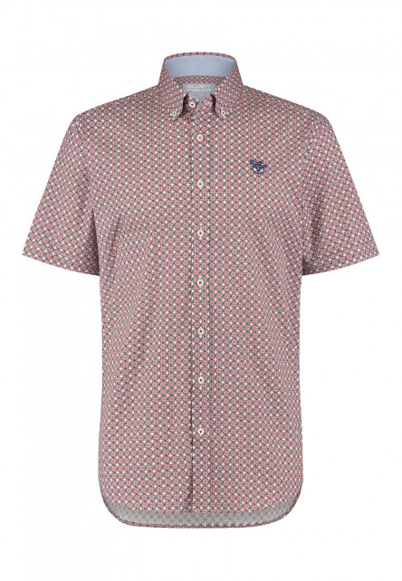 Overhemd-met-button-down---wijnrood/kobalt