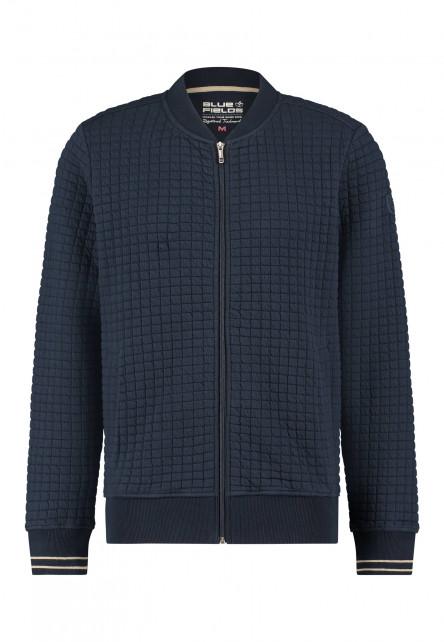 Cardigan-sweat-with-slit-pockets---dark-blue-plain