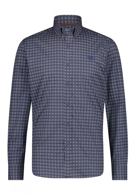 Katoenen-overhemd-met-regular-fit---donkerblauw/cognac