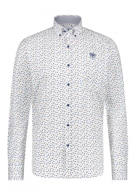 Overhemd-met-print-van-100%-katoen---kobalt/cognac