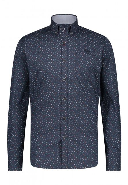 Overhemd-met-print-van-100%-katoen---donkerblauw/lichtgroen