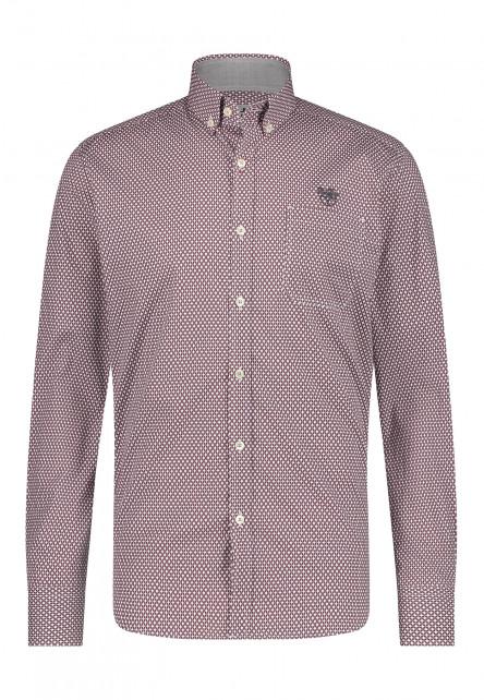 Regular-fit-overhemd-van-100%-katoen---wijnrood/donkerantraciet