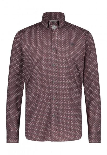 Katoenen-overhemd-met-stretch---donkerantraciet/wijnrood