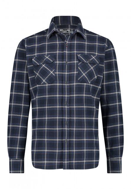 Geruit-overhemd-met-klepzakken---donkerblauw/cognac