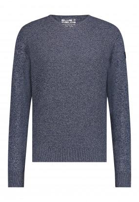 V-hals-trui-met-logo-op-de-borst---donkerblauw/zilvergrijs