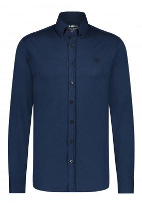 Katoenen-overhemd-met-button-down---donkerblauw-uni