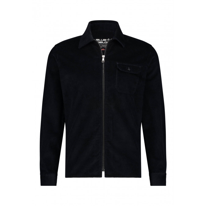 Corduroy-overshirt-met-borstzak---donkerblauw-uni