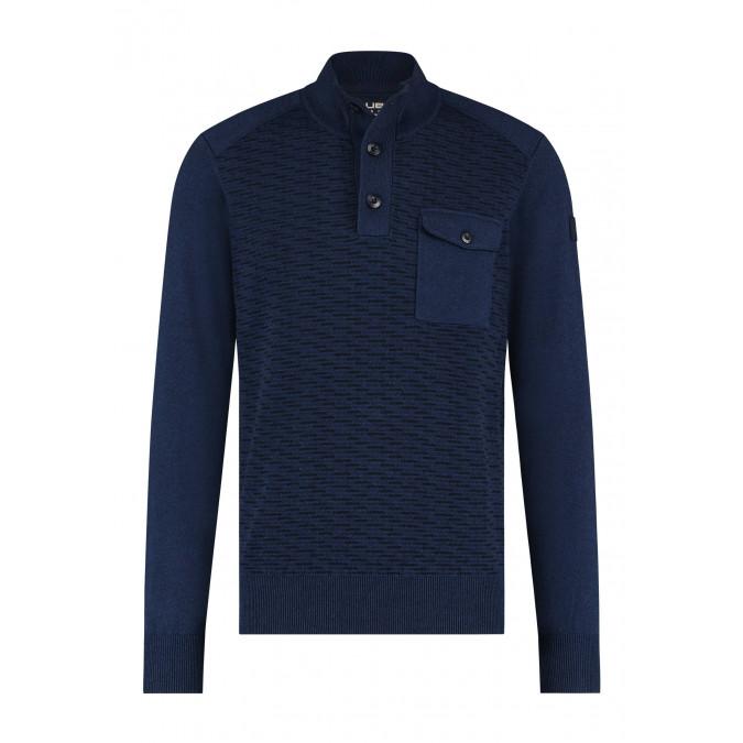 Pullover-Half-Zip-Plain---dark-blue/silvergrey