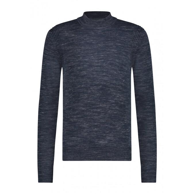 Pullover-Roll-Neck-Plain---dark-blue/silvergrey