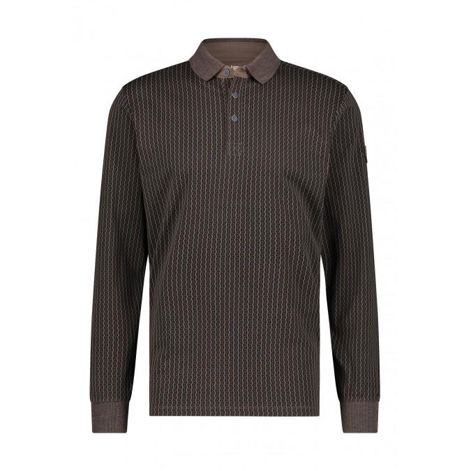 Poloshirt-Jersey-Long-Sleeve-Print---sepia/charcoal